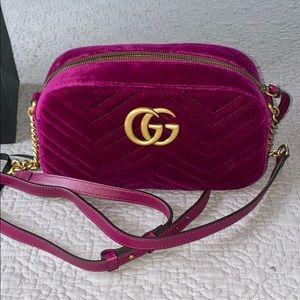 Brand New Authentic Gucci Marmont Fuchsia Velvet